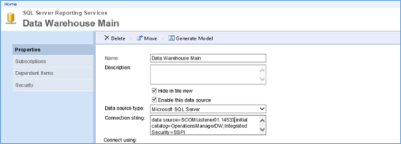 Configuring SQL Reporting Services for Remote or different SCOM DW