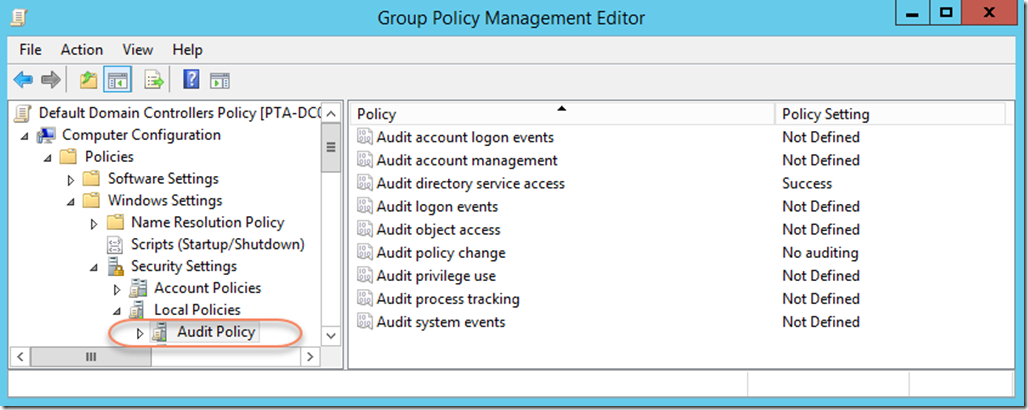 Example of Basic Audit Policy Settings