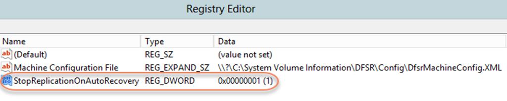StopReplicationOnAutoRecovery: HKLM\SYSTEM\CurrentControlSet\Services\DFSR\Parameters