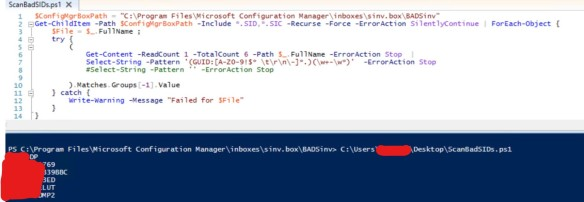 System Center Configuration Manager – Powershell Query  MIF  SID and