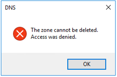 The zone cannot be deleted.  Access was denied.
