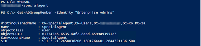 The account is a member of the Enterprise Admins group.
