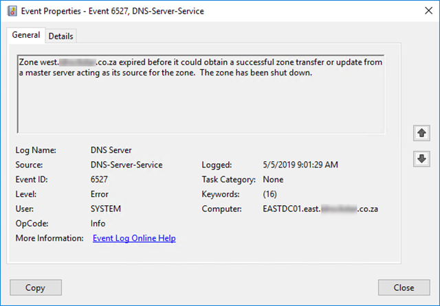 Expired DNS zone.