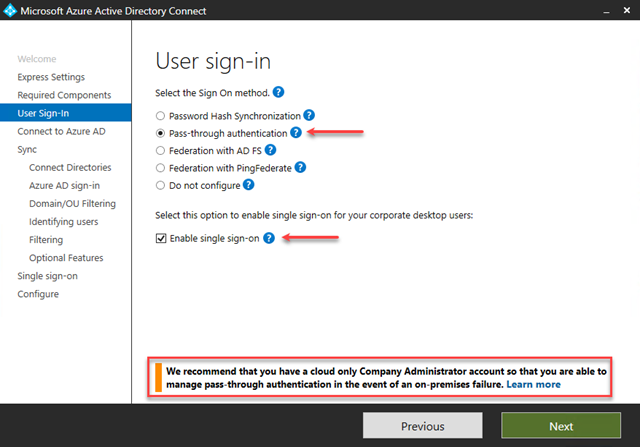 User Sign-in Options