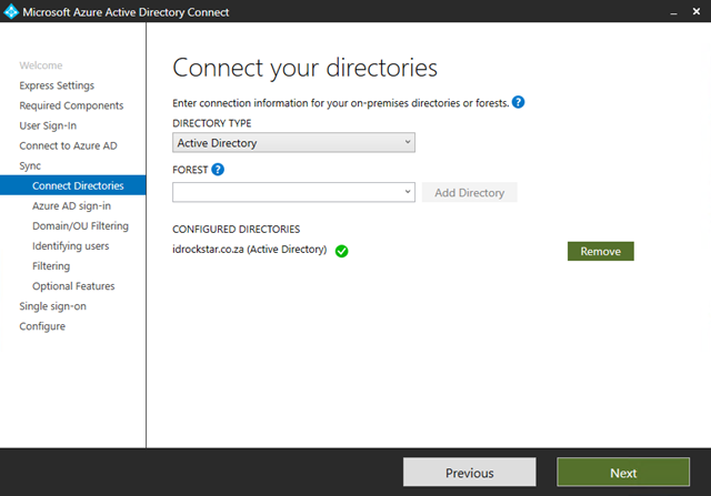 Connect On-Premise Directories