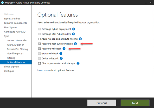 Select Optional Features