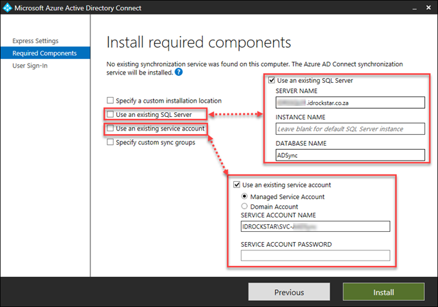 Specify an existing SQL Server and MSA