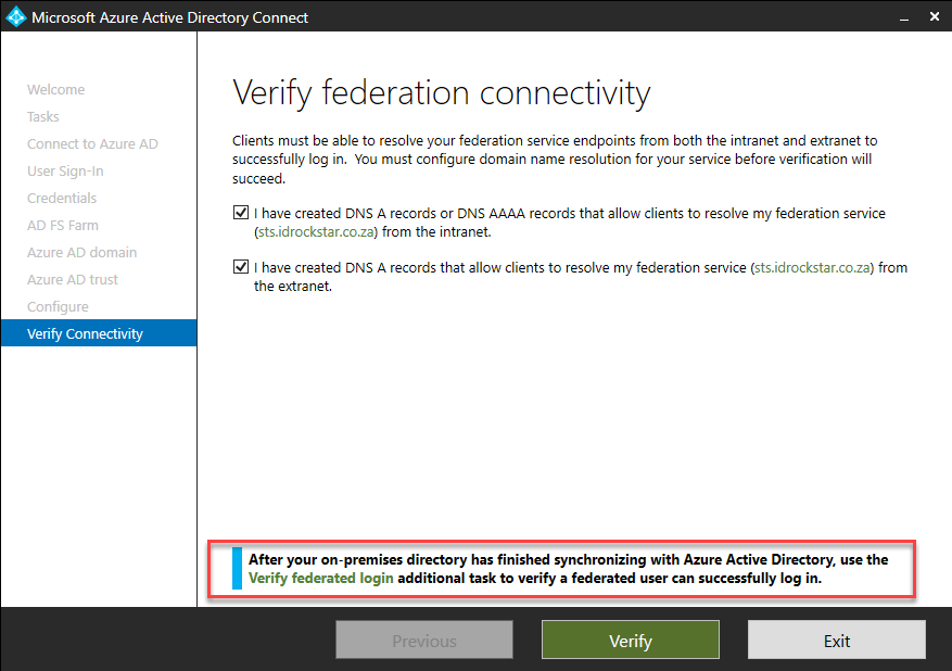 Field Notes: Azure Active Directory Connect – Verifying